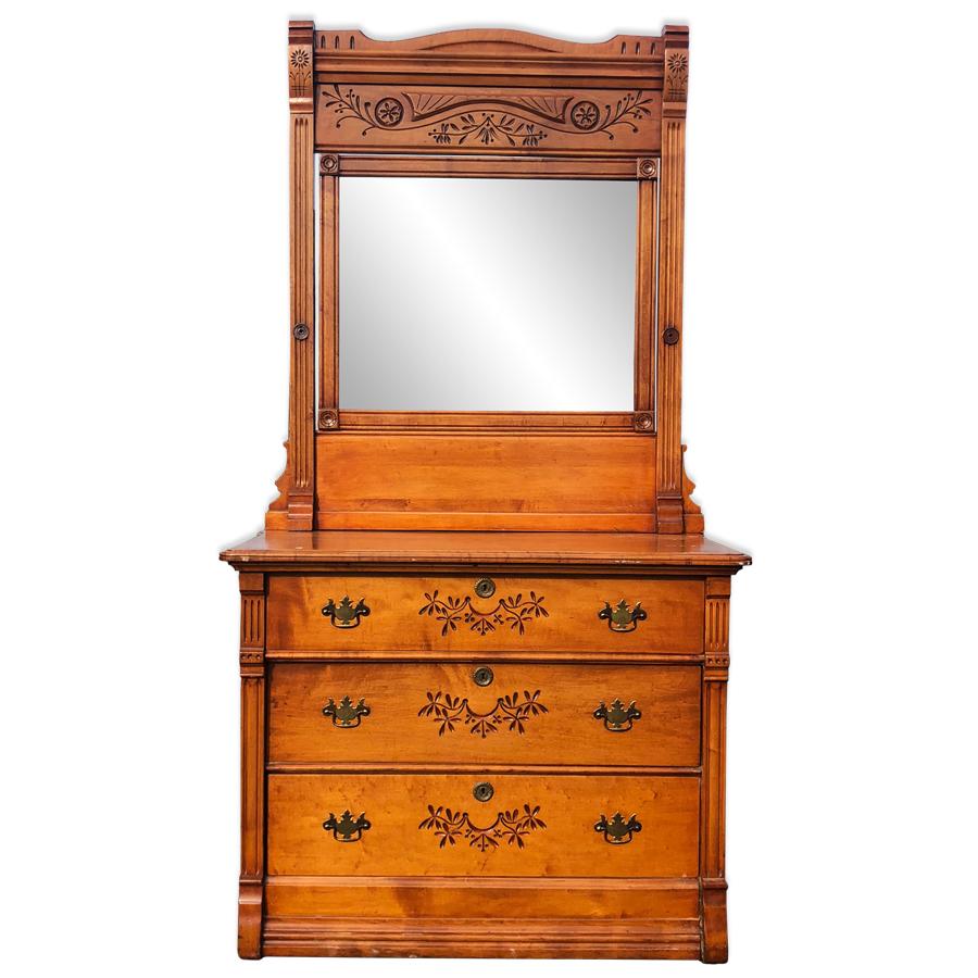 Antique Eastlake Victorian Bird S Eye Maple Mirrored