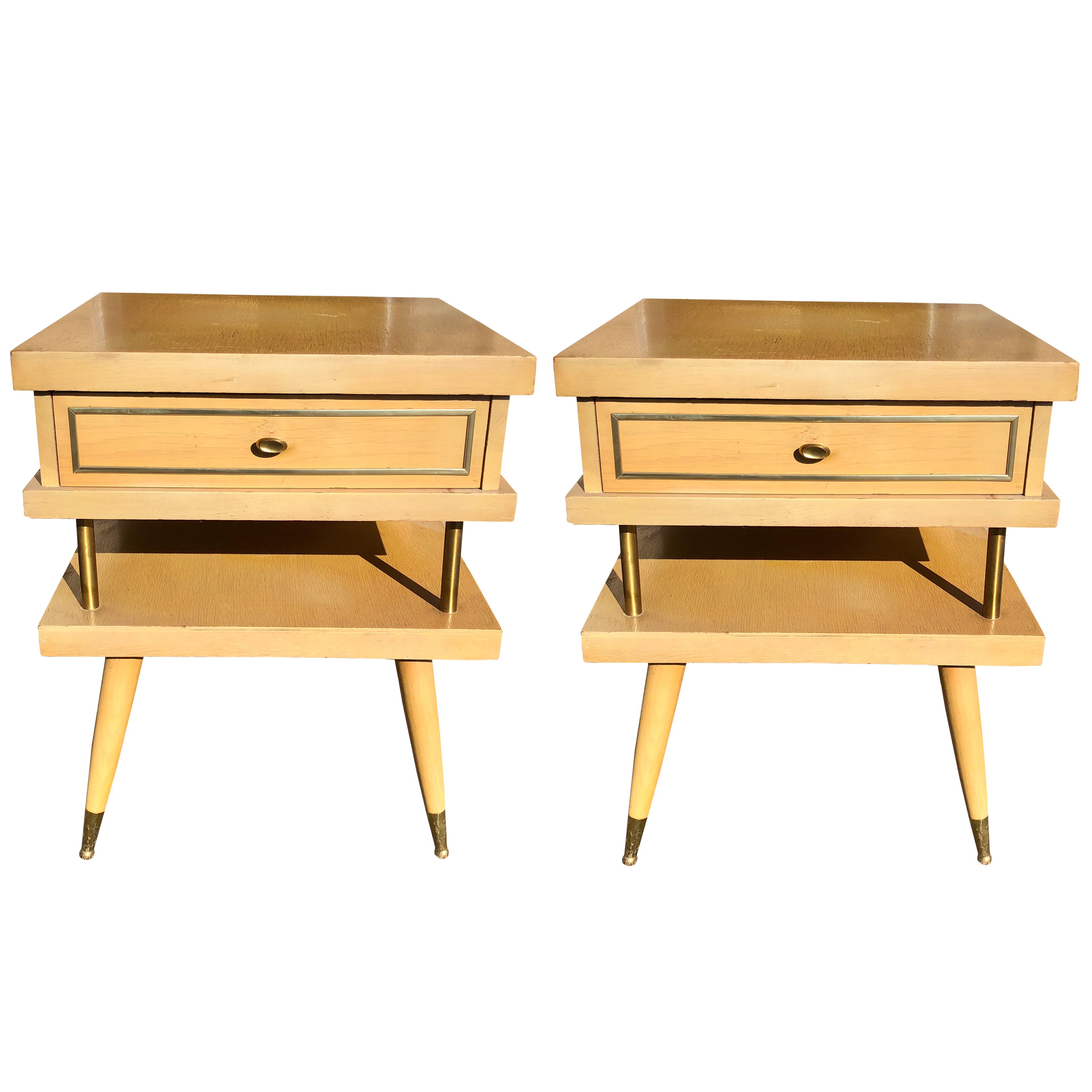 Mid Century Atomic Era 2 Tier Blonde End Tables A Pair