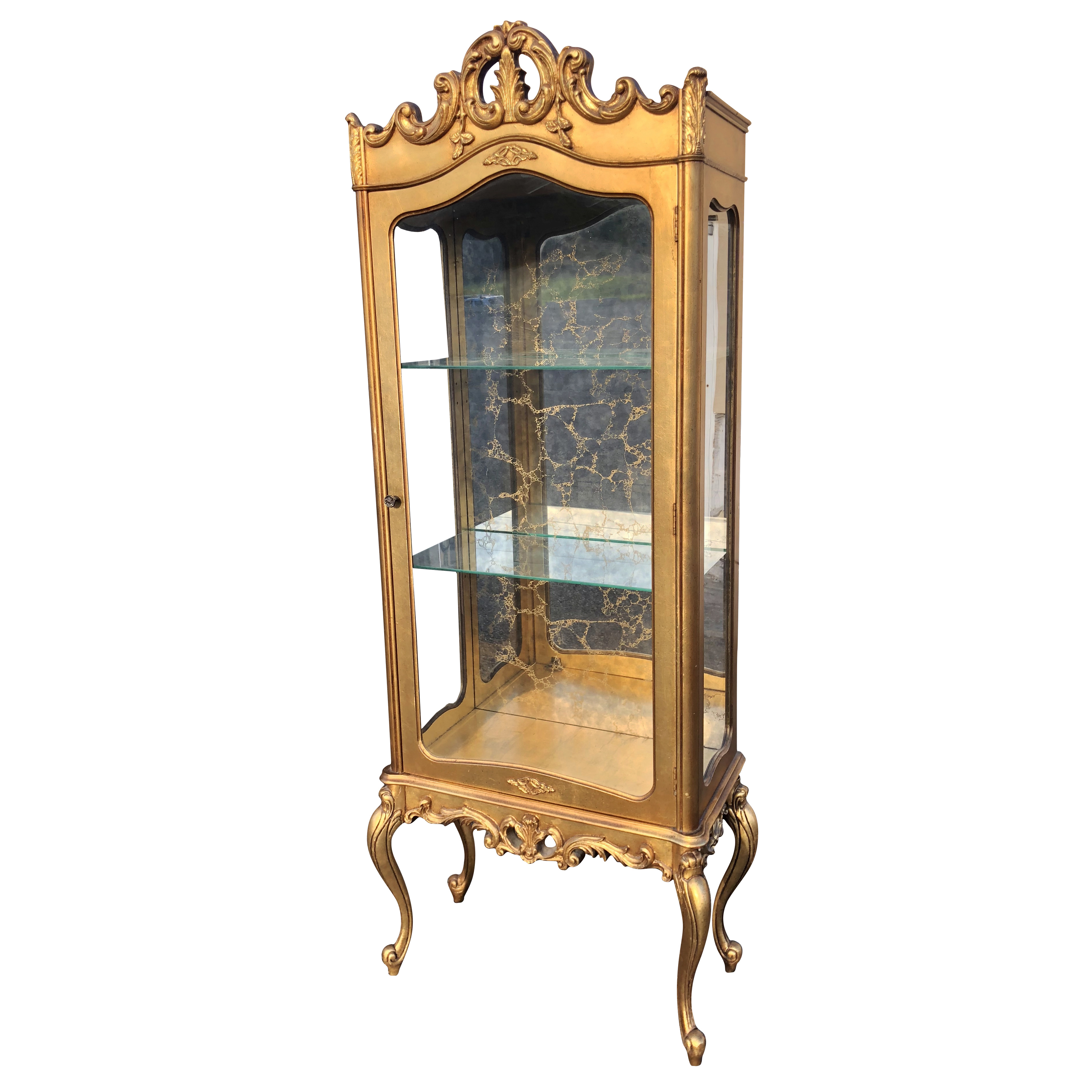 Antique French Provincial Carved Gold Glass Curio Cabinet Scranton Antiques