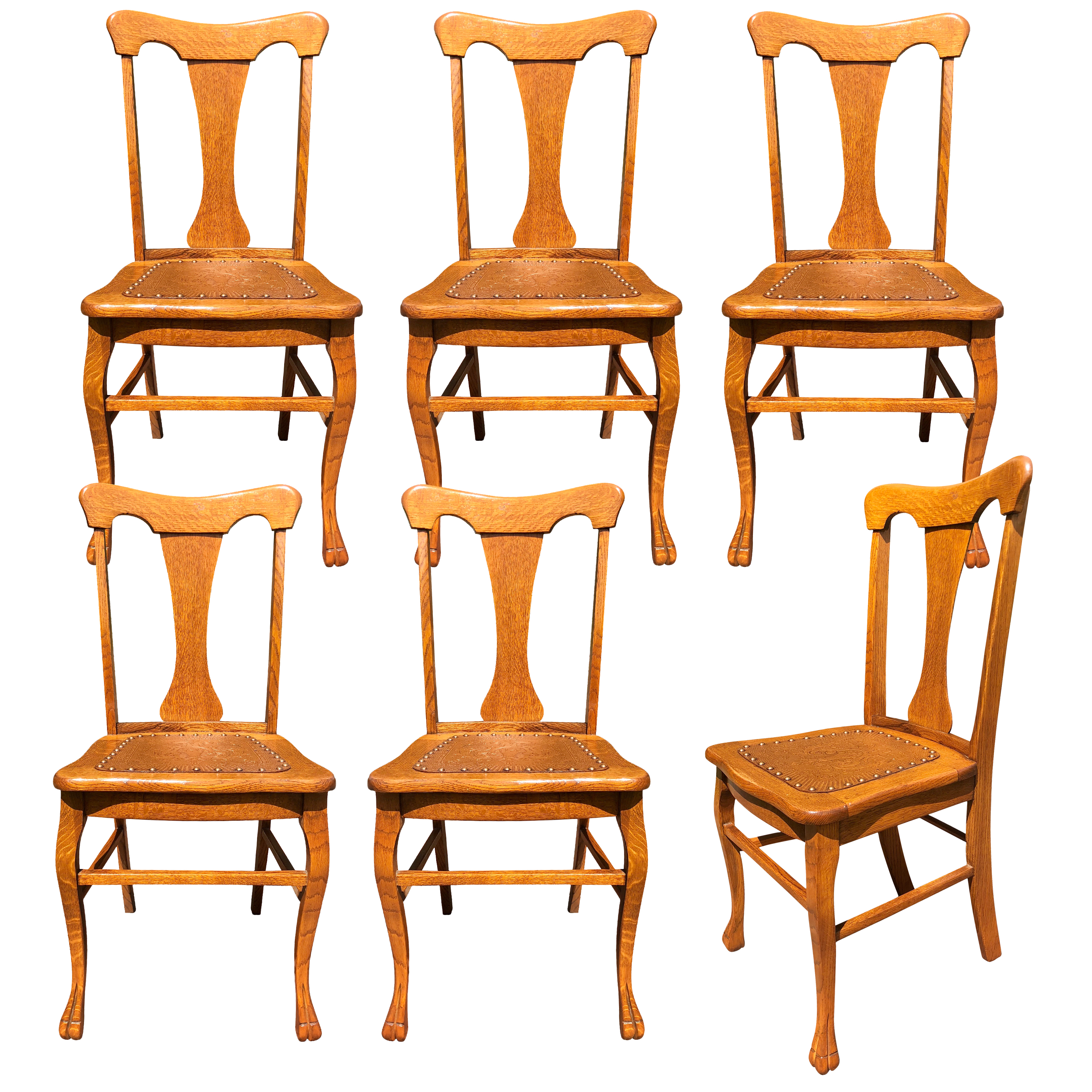 Antique French Country Quartersawn Oak T Back Dining Chairs