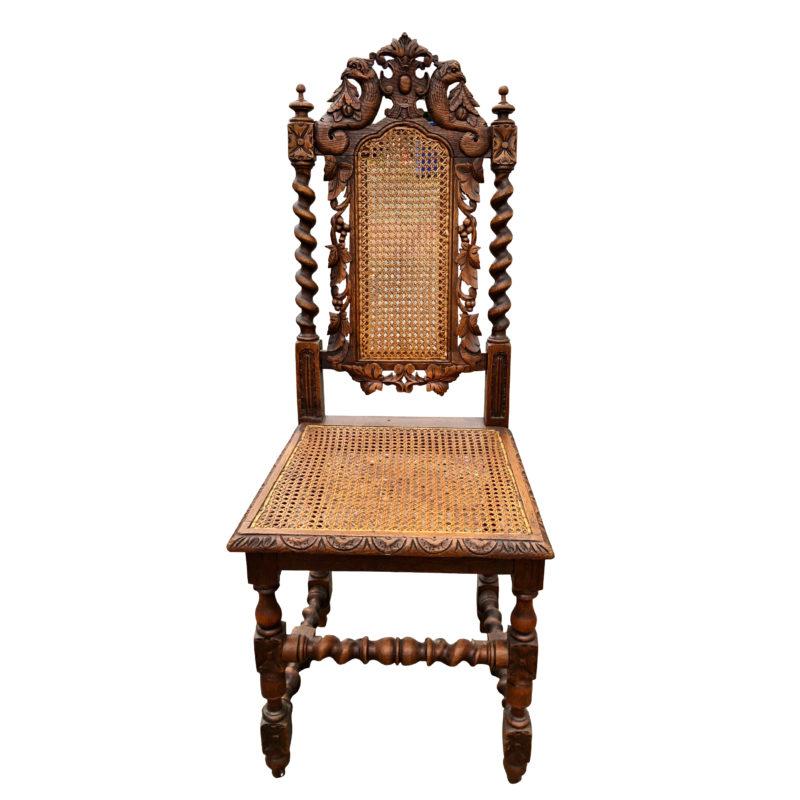 Antique English Barley Twist Victorian Oak Caned Chair W