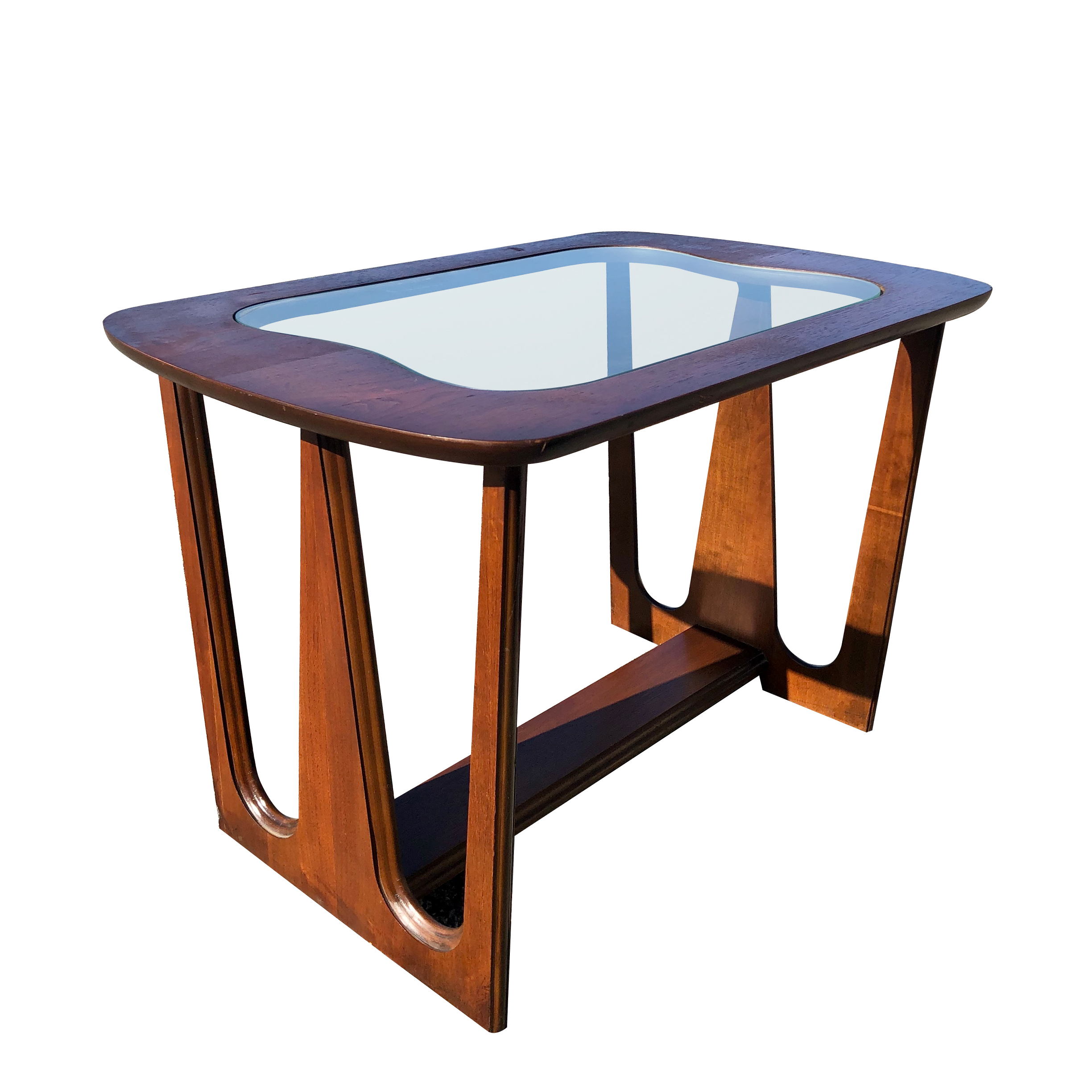 - Mid Century Modern Brasilia Style Glass Top Accent Table By