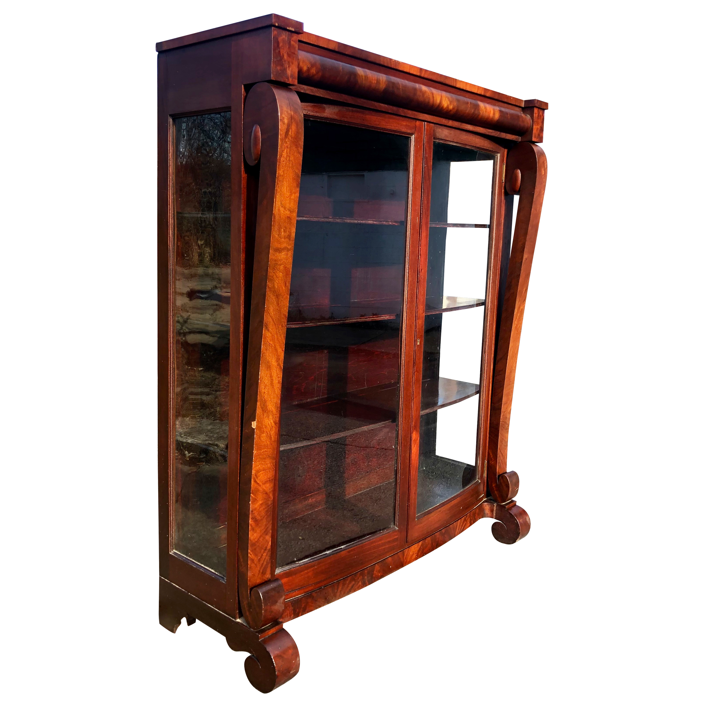 Antique American Empire Flame Mahogany Bookcase Curio Cabinet By Royal Furniture Co